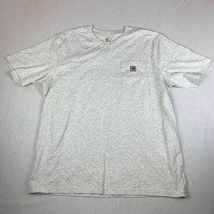 Vintage Carhartt Classic Logo T Shirt Light Grey
